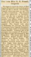 Report of the funeral of Daphne Powell. Brecon County Times 1st May 1919
