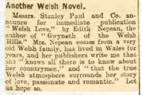 Publicity for Edith's novel Welsh Love. Cambria Daily Leader 17 September 1919rnrn
