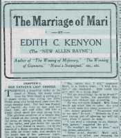 Heading and opening paragraphs of The Marriage of Mari. Cambria Daily Leader 26th October 1916.