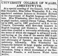 Report of the appointment of Lilian Winstanley. Cambrian News 23rd December 1898