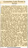 Short account of Nora's experiences on the retreat from Serbia. Carmarthen Weekly Reporter 21st January 1916