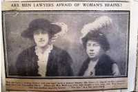 Newspaper photograph and article 'Are Lawyers Afraid of Women's Brains?' Daily Sketch, December 1913.