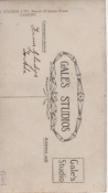 Reverse of photograph, taken at  Gale's Studios Ltd, Queen's Street, Cardiff, inscribed 'To Ada From Gladys'.