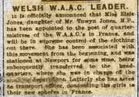 Report of Elsie's promotion to Quartermistress. Herald of Wales 23rd March 1918rnrn