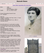 Hannah Owen, Stewardess on SS Leinster, sunk 10th October 1918