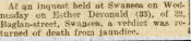 Newspaper report of Inquest into death of munitions worker Esther Devonald