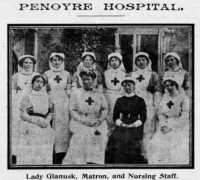 Lady Glanusk with the matron and staff of Penoyre Hospital, Brecon.