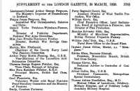 Citation for award of CBE to Lady Glanusk, London Gazette (Supplement) 30th March 1920