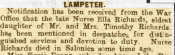 Ella Richards mentioned in despatches, Cambrian News and Merionethshire Standard 18th July 1919