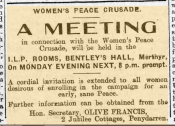 Advertisement for meeting in connection with the Women's Peace Crusade, Pioneer 28 July 1917
