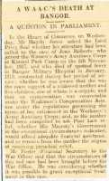 Newspaper report of parliamentary question about Jean Roberts. North Wales Chronicle 14th November 1919.