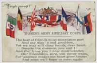 Women's Army Auxiliary Corps postcard, 18 June 1918. This postcard was sent by Nora to her great grandmother Mrs Treadwell, from Plymouth where she was working at a convalescent hospital.