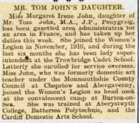 Report of local JP's daughter Margaret John being posted to France. Rhondda Leader 27th October 1917.
