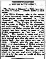 Review of The Wooing of Mifanwy [sic] in an Australian paper.   The Advertiser Adelaide 22nd March 1913.