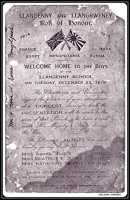 Invitation to the 'Welcome Home Boys' concert, December 23rd 1919.