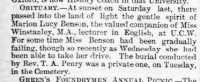 Notice of the death of Marion Benson, Lilian Winstanley's companion.