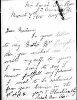 Letter from Sarah Ann Rees asking for discharge from the WAAC. National Archives.