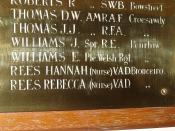 Name of Hannah Rees, VAD, Bronceiro, who served in the War. Capel y Garn